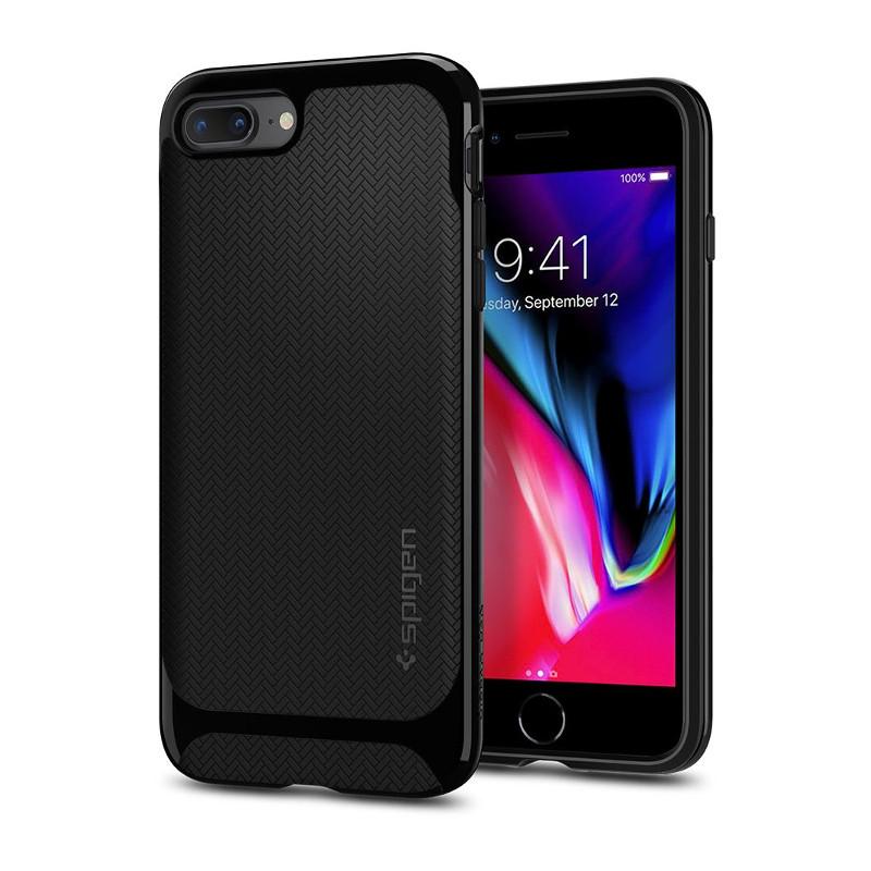 Original Spigen Case iPhone 8 Plus / iPhone 7 Plus Neo Hybrid Herringnone Shiny Black Retail