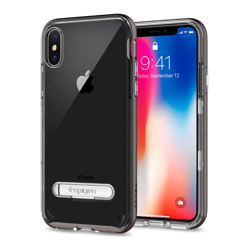 Original Spigen Case Apple iPhone X Crystal Hybrid Gunmetal Retail