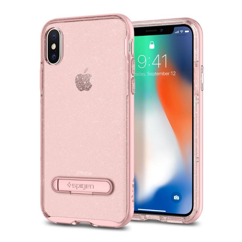 Original Spigen Case Apple iPhone X Crystal Hybrid Glitter Rose Quartz Retail