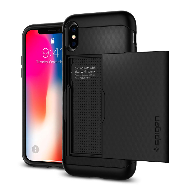Original Spigen Case Apple iPhone X Crystal Wallet Black Retail