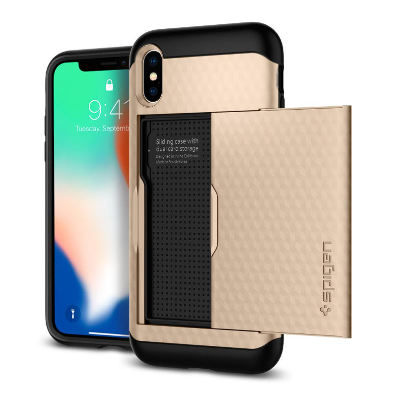 Original Spigen Case Apple iPhone X Crystal Wallet Champagne Gold Retail