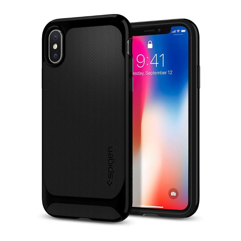 Original Spigen Case Apple iPhone X Neo Hybrid Shiny Black Retail